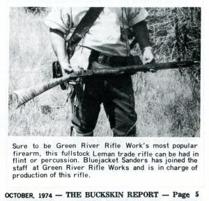 Oct 1974 Buckskin Report Lloyd Helms with GRRW Leman Indian Rifle