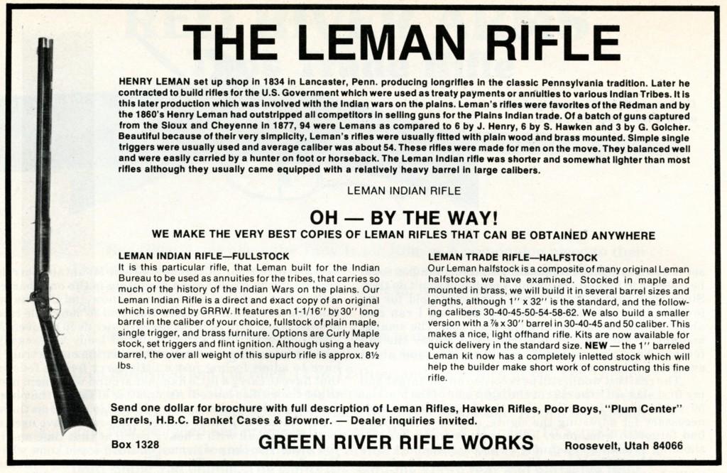 GRRW Leman Indian Rifle ad from Nov-Dec 78 Muzzleloader mag
