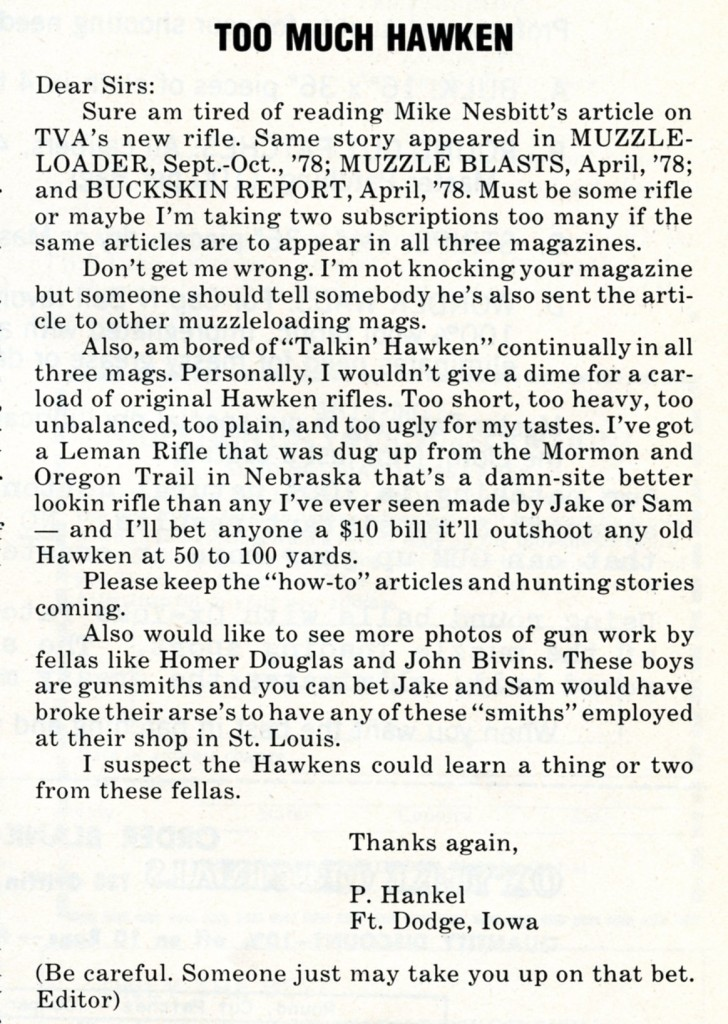 Too Much Hawken letter to editor