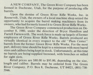 Announcement about Green River Co., the first successor to GRRW