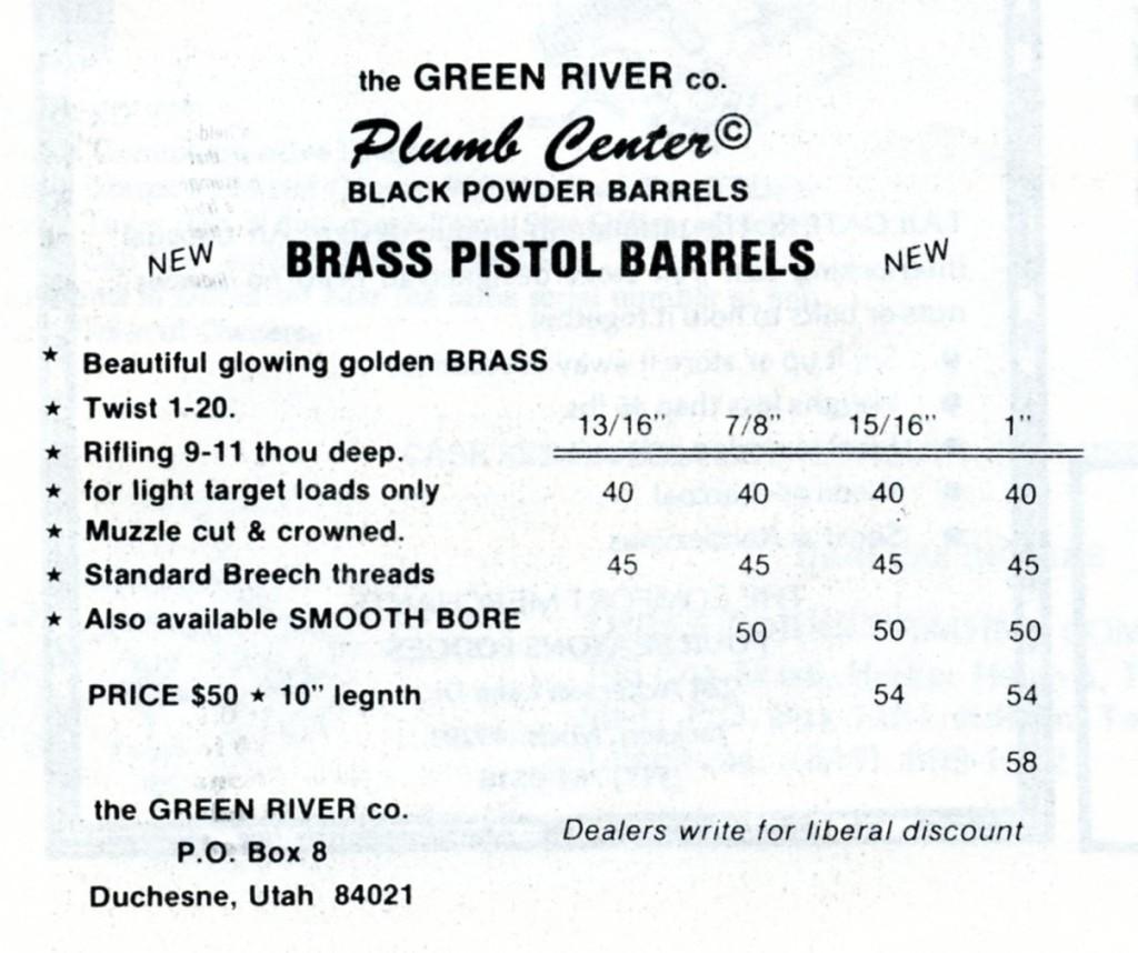 Green River Co brass pistol barrels ad, Jul 81 Buckskin Report