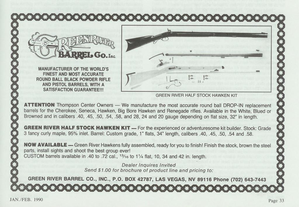 Last Green River Barrel Co ad, Jan-Feb 1990 Muzzleloader mag