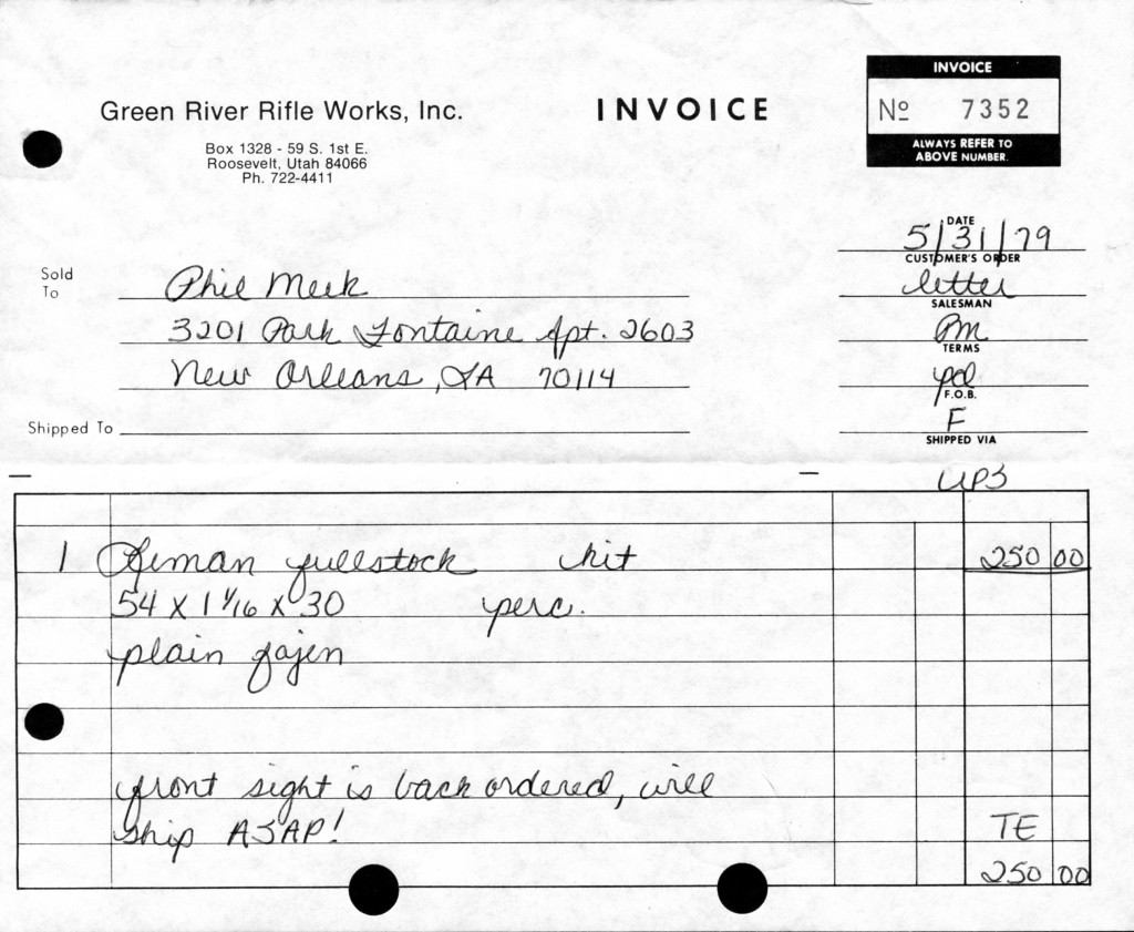 GRRW Leman Indian Rifle Invoice 5-31-79