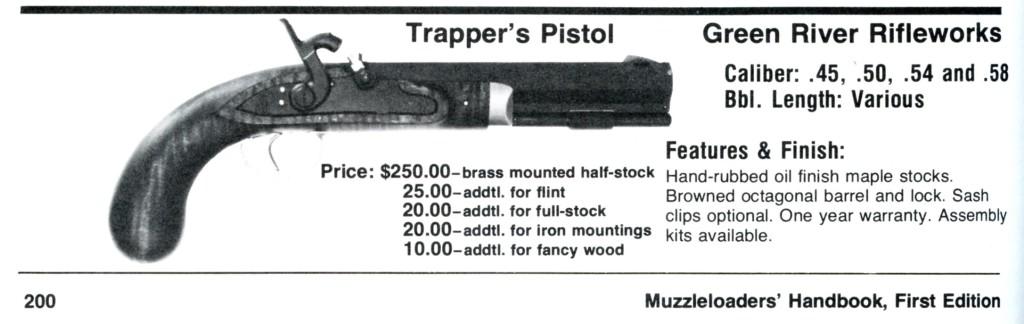 GRRW Trapper Pistol ad Lyman Muzzlerloader Handbook
