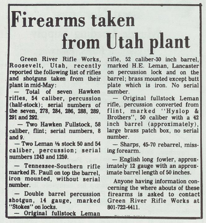 Stolen GRRW rifles Aug 76 Buckskin Report