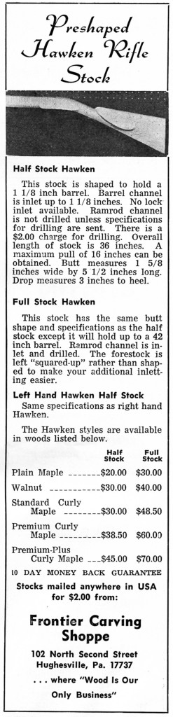 Frontier Carving Shoppe Hawken stocks ad