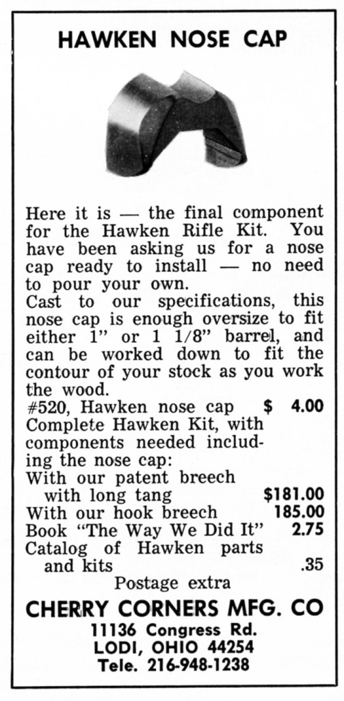 Cherry Corners Hawken nose cap introduced ad