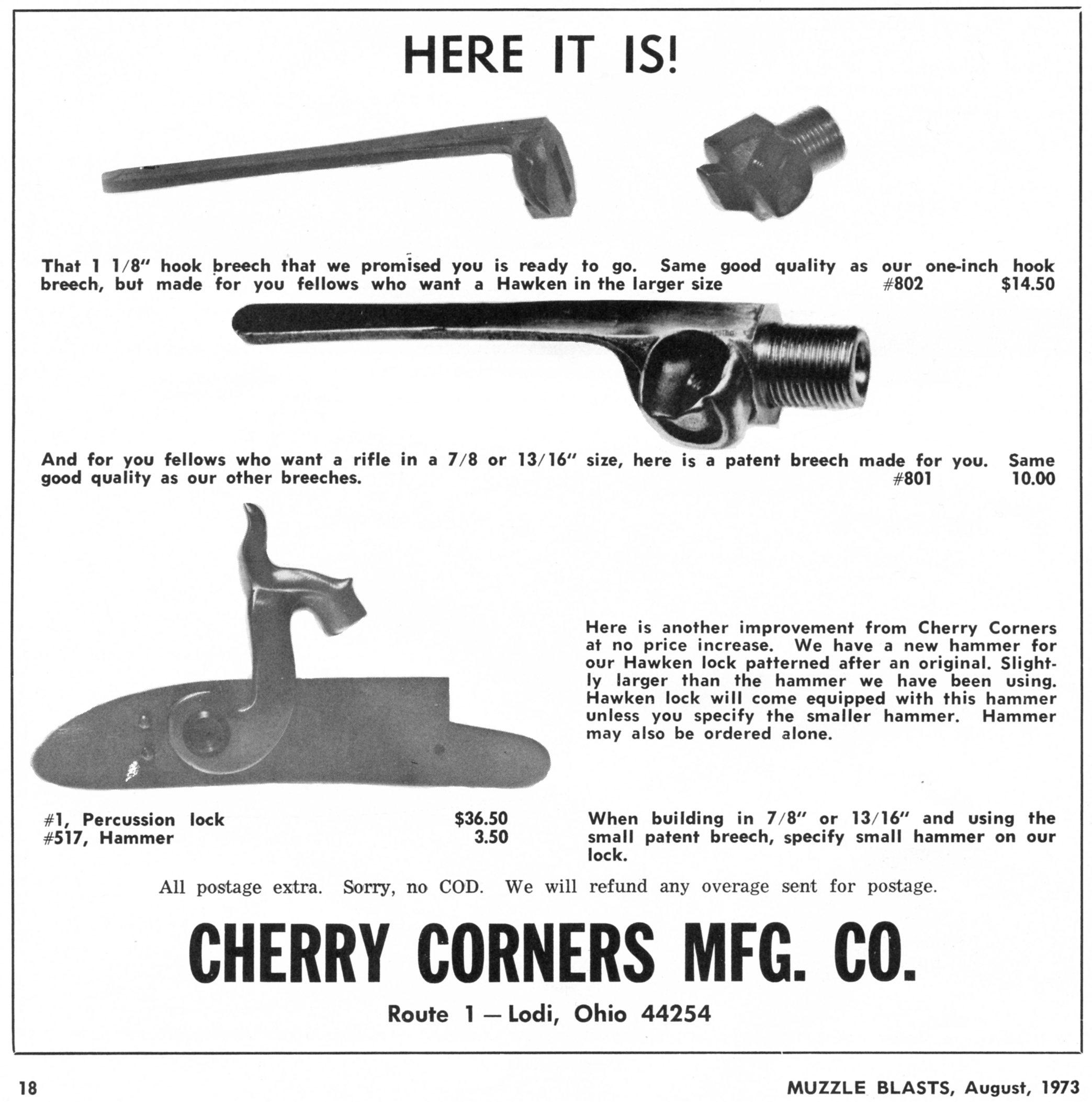 Cherry Corners 1-1/8 in hooded breech ad