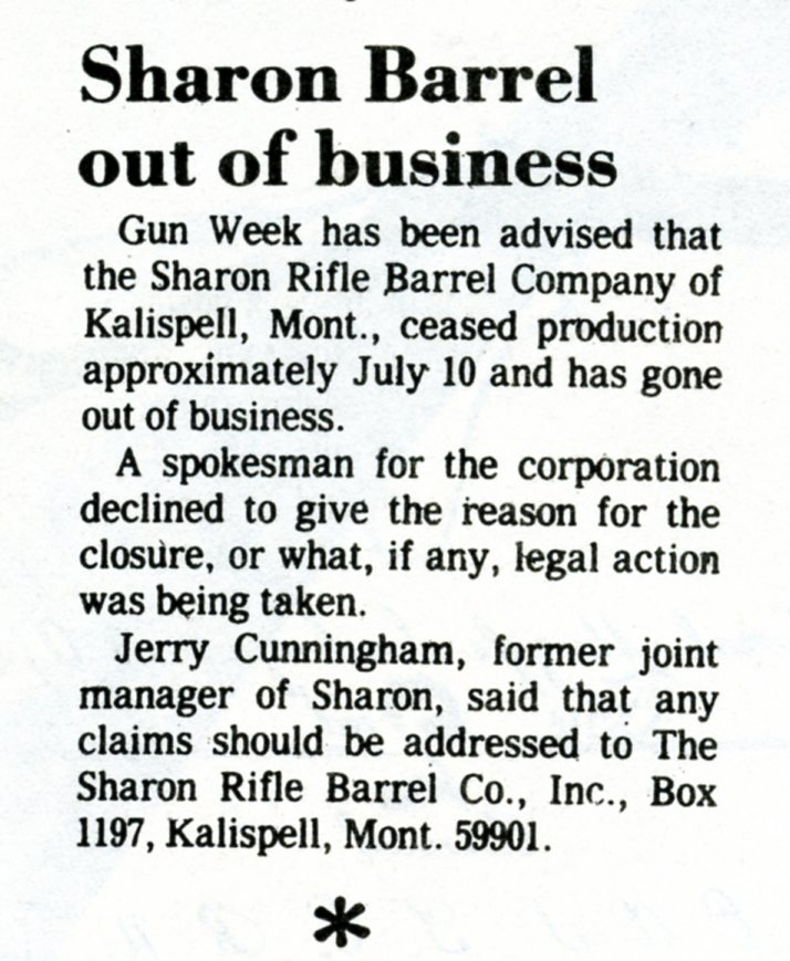 Sharon Rifle Barrel Co out of business