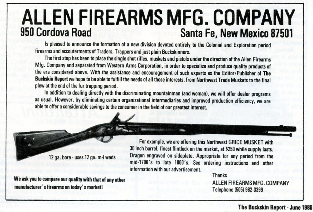 Allen Firearms Mfg. Co. ad