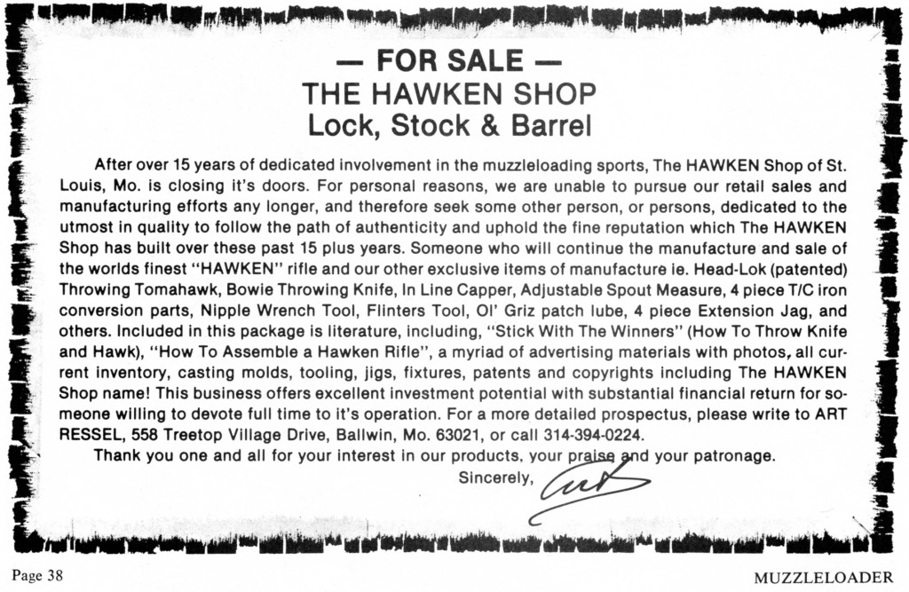 87_01-02 MLThe Hawken Shop for sale notice