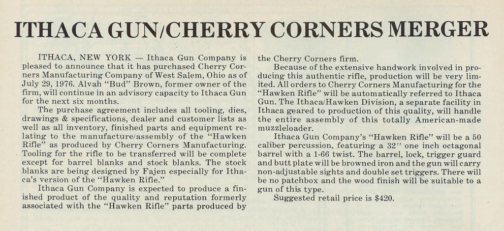 Ithaca buys Cherry Corners ML Nov-Dec 76